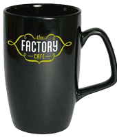 Black earthenware printed mug