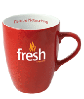 red earthenware promotional coffee mug