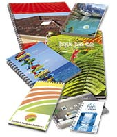 A selection of low cost wiro notebooks which can be branded with your company message