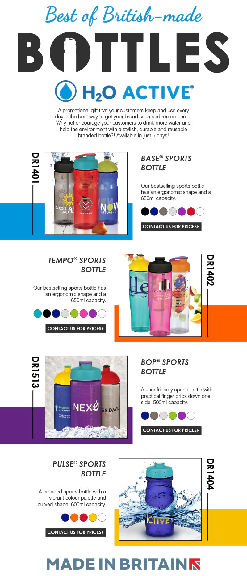 Branded water bottles from Printit4u