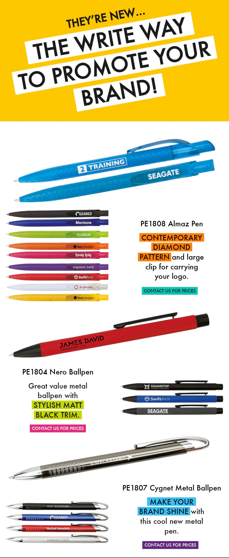 Three new branded pens from Printit4u for 2018