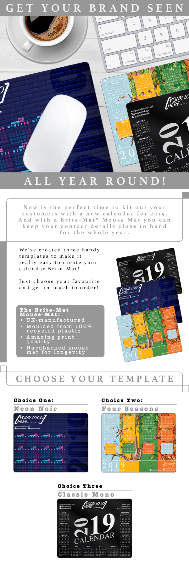 Free calendar templates on 2019 Brite-Mat Mouse Mats from Printit4u