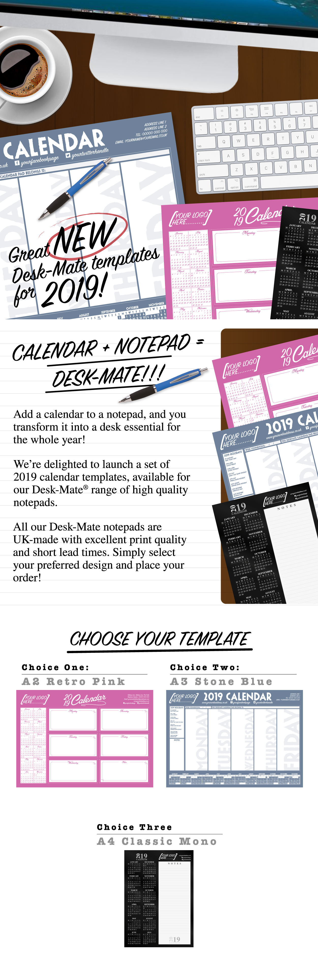 Personalised Desk Mate Note Pads with 2019 Calendars